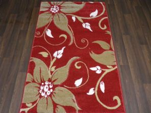 Modern Rugs Approx 5x2ft6 80cmx150cm Woven Thick best around Red/Beige Lily New